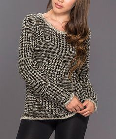 Look what I found on #zulily! Black & Oatmeal Diamond-Knit Sweater by Adore #zulilyfinds