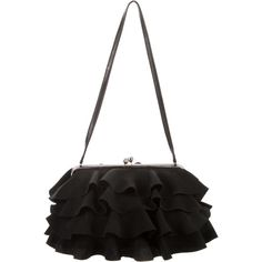 Pre-owned John Galliano Ruffle-Accented Shoulder Bag ($175) ❤ liked on Polyvore featuring bags, handbags, shoulder bags, black, ruffle handbags, kiss-lock handbags, hand woven bags, woven purse and preowned handbags