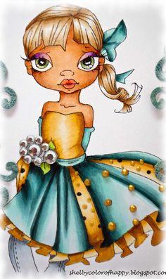 CHair:  E35, 31, 41; Dress and ribbon:  BG78, 75, 72, 10, 70; YR24, 23, 21, 31, 30;  Skin E99, 11, 00, 000.