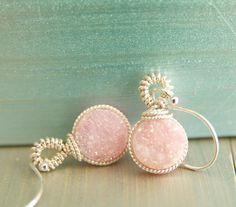 Druzy Dangle Earrings Handcrafted by BareandMe on Etsy