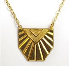 Vintage Gold Deco Fan Necklace by TashaHussey