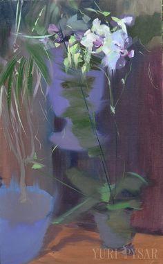 Dark Floral Painting  Oil Painting Orchids  Night Canvas by Yuri Pysar | Натюрморт квіти картина, художник Юрій Писар