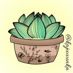 Succulent 🌱 #succulent #drawing #outline #art #summer