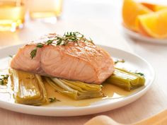 For a bright weeknight meal you'll feel good about, try Salmon Fillets with Leeks and Orange Glaze. Brought to you by Behr.