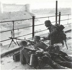 German light machine gun element takes up position during fighting in Narva, Estonia, 1941.