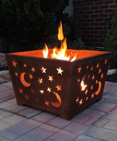 Loving this Rusted Steel Stars & Moon Fire Basket on #zulily! #zulilyfinds