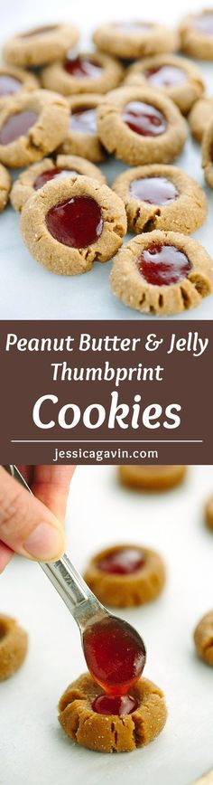 Flourless Peanut Butter and Jelly Thumbprint Cookies - this recipe is super easy to make, just one bowl and six ingredients! These PB&J cookies melt in your mouth and have a rich peanut flavor. | http://jessicagavin.com