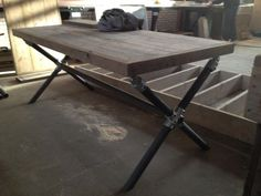 X-Frame Table - The x-frame is created using the Four Socket Cross and Swivel Flange fittings.
