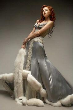 russian style winter wedding dress