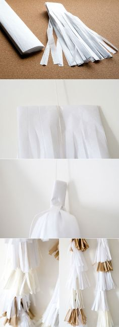 party fringe DIY for garlands or attach it to balloons (because that stuff pre-made is way overpriced)
