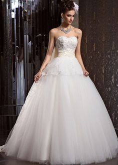 beautiful sleeveless taffeta wedding dress with appliques