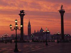 View across St. Marks Square Towards San Giorgio Maggiore at Sunrise, Venice, Veneto, Italy
