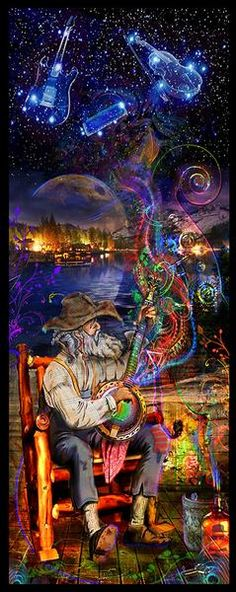 The Bluegrass banjo plays his music in the night sky.  **Large and small tapestries come with a FREE color changing RGB light bulb, a $30 value** Details for