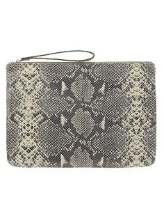 Python Embossed Oversized Clutch | Banana Republic