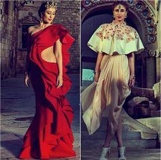 Kareena Kapoor wearing Red dress by Gaurav Gupta and top with skirt by Varun Bahl for Harper's Bazaar Bride India