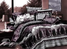 Elegant White Wolves Print 4-Piece Polyester Duvet Cover Sets #3d #bedding #bedroom