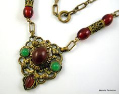 Vintage Art Deco Czech Necklace with by worn2perfection on Etsy, $145.00