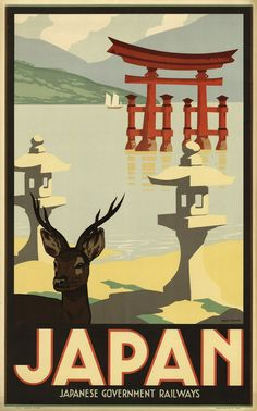 Vintage travel poster, on Japanese Government Railways (Los Angeles Public Library)