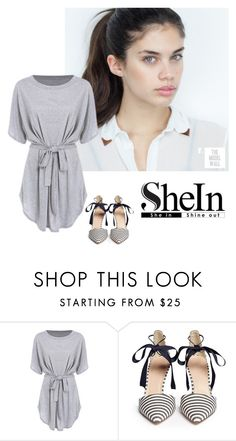 """Short Sleeve Self-Tie Dolman Dress - SHEIN"" by inesfragosa ❤ liked on Polyvore featuring J.Crew"