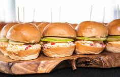 Pimiento Cheese Sliders with Apple and Pecan, perfect for tailgating and game day snacking | Squash Blossom Kitchens