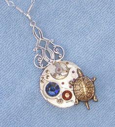 VTG Steampunk 17 RUBY Jeweled Turtle Necklace larp | eBay $12.99 http://cgi.ebay.co.uk/130808290242
