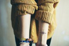 Compass tattoo on the wrist.