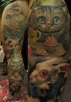 Wonderland Legsleeve Tattoo by ~strangeris on deviantART