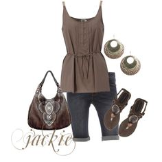 Denim and browns, created by jackijons on Polyvore