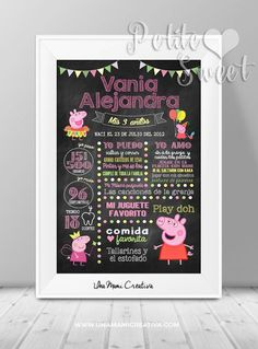 Cuadro Chalkboard para Cumpleaños  Temática Peppa Pig: