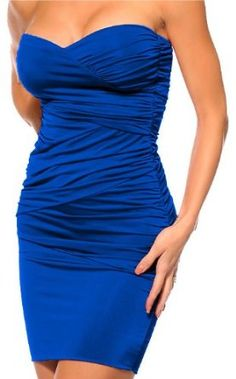 FITTED RUCHED SEXY BLUE STRAPLESS EVENING MINI DRESS