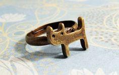 Lil Bronze Kitty Ring, Cat Kitten Antique Brass Adjustable