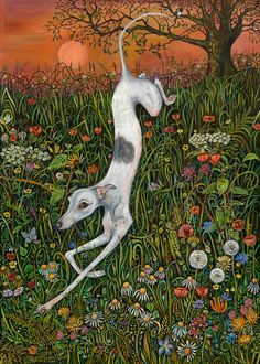 The Last Dance at Sunset  Whippet Art Print by AlmostAnAngel66,