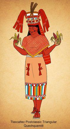 Chicomecoatl, Aztec maize goddess Tlaxcaltec Postclassic quechquemitl by Kamazotz on DeviantArt Mayan Symbols, Ancient Symbols, Viking Symbols, Egyptian Symbols, Viking Runes, Inca Art, Aztec Clothing, Aztecas Art, American Indian Tattoos