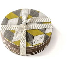 4 Yellow Coasters Geometric coaster Retro Coasters Yellow Grey... ($15) ❤ liked on Polyvore featuring home, kitchen & dining, bar tools and square coasters