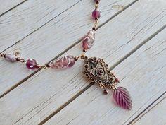 Antique bronze purple necklace stylish ladies jewelry leave of