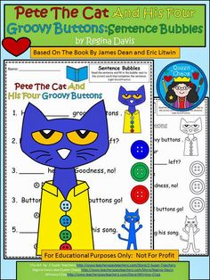 FREE Pete the Cat 4 Groovy Buttons printables.