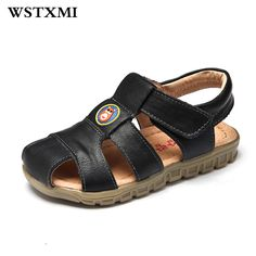 dd18f4ecb5ec1 Children Soft Genuine Leather Sandals Designer Baby Boys Brown Beach Casual  Flat Sandals Summer Cool Swim Shoes(Little Big Kids)-in Sandals from Mother  ...