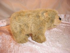 Free Standing Realistic 5 by 8 inch Brown Bear Plush Stuffed Toy