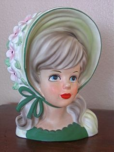 RARE Bonnet Teen Lady HEAD VASE w/Flowers