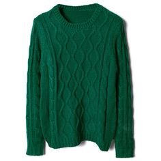 Green Knitted Jumper ($62) ❤ liked on Polyvore featuring tops, sweaters, jumpers, shirts, green top, cable knit sweater, long sleeve jumper, chunky cable knit sweater and green cable knit sweater