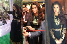 Wearing a Sabyasachi long anarkali, Aishwarya inaugurated three more Kalyan Jewellers stores in Delhi on Saturday. The black anarkali featuring a lion design on the sleeves was quite a welcome change from those overwhelming lehengas she'd been sporting of late but can't say we are fans of the big hair even though overall she looked …