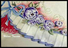 Helena Tassano Artesanato, Pintura em Tecido, Aulas de Pintura, Pintura sobre Tela: Pano de copa