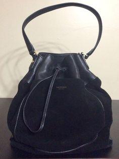 33ebf3b620df ISAAC MIZRAHI Black Suede  amp  Leather Bucket Bag Single Strap Shoulder  Handbag  IsaacMizrahi