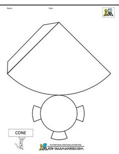 Nets of shapes cone net tabs printable tabs, printable shapes, free printable worksheets 3d Shapes Worksheets, Shapes Worksheet Kindergarten, Geometry Worksheets, Cone Template, Shape Templates, Templates Free, Printable Shapes, Free Printable Worksheets, Printable Tabs