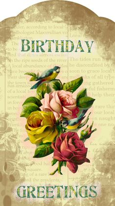 Birthday Greetings tag with roses