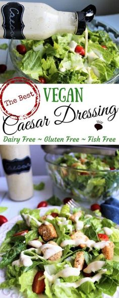 This vegan Caesar salad with a classic tasting vegan Caesar dressing tastes like the real deal. This creamy gluten free dressing served over crisp romaine lettuce topped with croutons may be the most delicious vegan salad that you will ever eat! thehiddenveggies.com