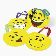 Lot of 12 Yellow Smile Face Tote Party Favors Loot Bags,$10.00