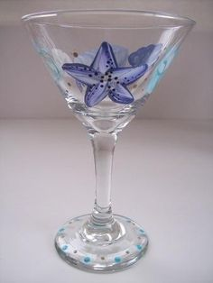 Seashells in Blue Martini Glass by Morningglories1 on Etsy  $16.00