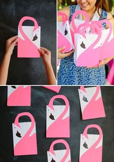 Make your own favor bags for a flamingo party. A fun flamingo craft that will be be useful too for a flamingo birthday party. Pink Flamingo Party, Flamingo Gifts, Flamingo Birthday, Pink Flamingos, Flamingo Craft, Pochette Surprise, Alice In Wonderland Party, Tropical Party, Party Favor Bags