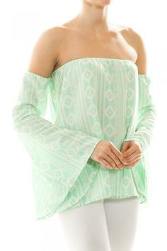Mint Aztec Print Top Spring Summer Women's Fashion Easter Outfits